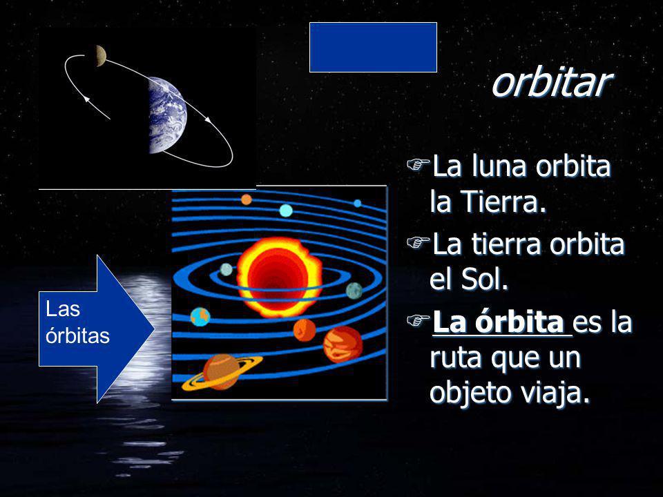 orbitar FLa luna orbita la Tierra. FLa tierra orbita el Sol. FLa órbita es la ruta que un objeto viaja. FLa luna orbita la Tierra. FLa tierra orbita e