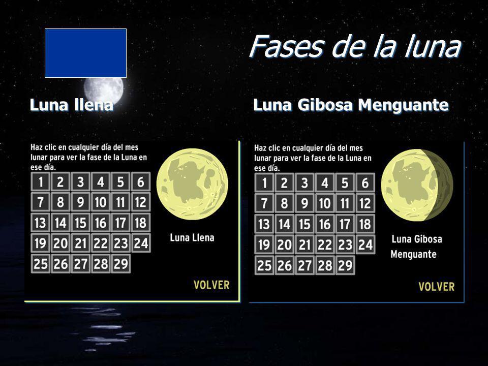 Fases de la luna Luna llena Luna Gibosa Menguante