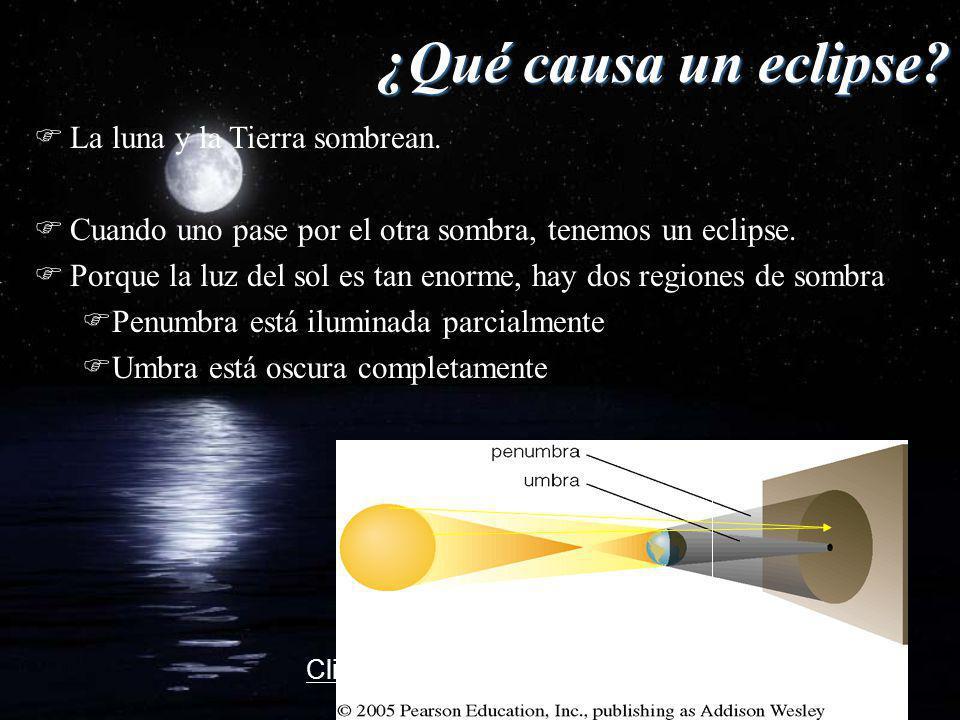 ¿Qué causa un eclipse? FLa luna y la Tierra sombrean. FCuando uno pase por el otra sombra, tenemos un eclipse. FPorque la luz del sol es tan enorme, h