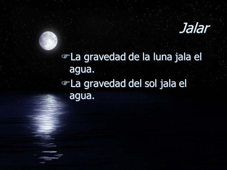 Jalar FLa gravedad de la luna jala el agua. FLa gravedad del sol jala el agua. FLa gravedad de la luna jala el agua. FLa gravedad del sol jala el agua