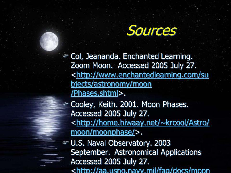 Sources FCol, Jeananda. Enchanted Learning. Zoom Moon. Accessed 2005 July 27..http://www.enchantedlearning.com/su bjects/astronomy/moon /Phases.shtml