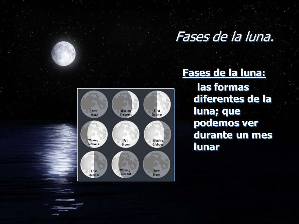 Fases de la luna. Fases de la luna: las formas diferentes de la luna; que podemos ver durante un mes lunar Fases de la luna: las formas diferentes de