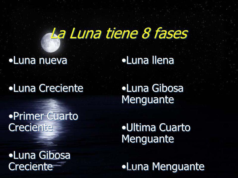 La Luna tiene 8 fases Luna nueva Luna Creciente Primer Cuarto Creciente Luna Gibosa Creciente Luna nueva Luna Creciente Primer Cuarto Creciente Luna G
