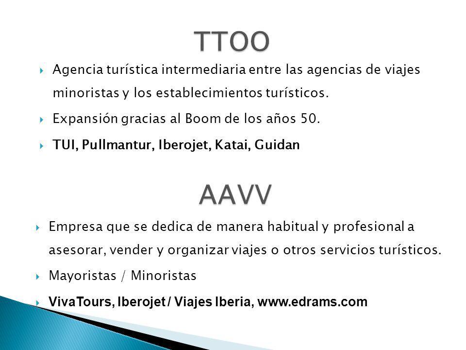 Agencia turística intermediaria entre las agencias de viajes minoristas y los establecimientos turísticos. Expansión gracias al Boom de los años 50. T