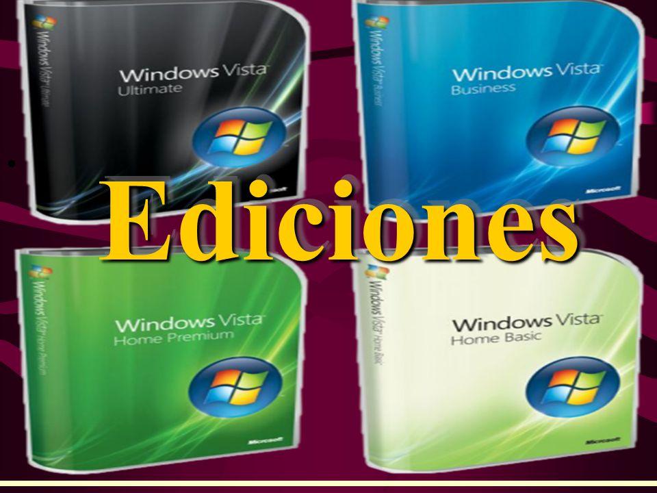 CARACTERÍSTICAS Aero Buscador integrado Tecnología Tablet PC BitLocker Drive Encryption Virtual PC Express Subsistema para aplicaciones UNIX Windows Media Center Grabador de DVD integrado Versiones para 32 y 64 bits