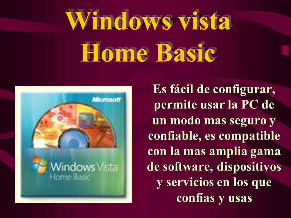 Windows Vista Home Premium Es el sistema operativo pensado para los hogares con necesidades informáticas avanzadas