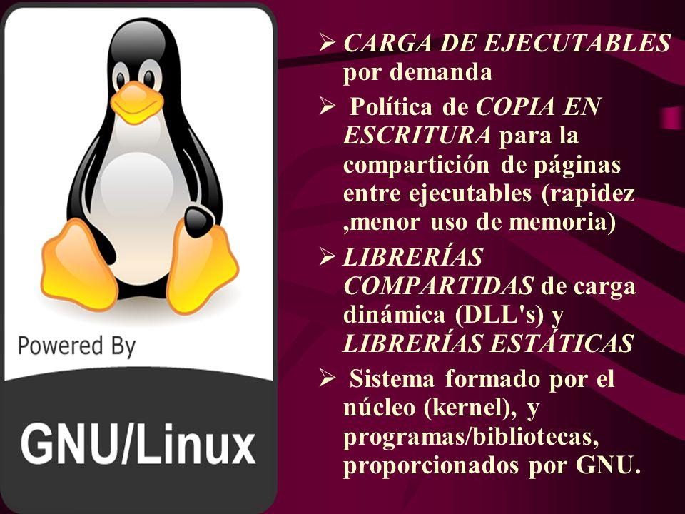 Características del Linux MULTITAREAS MULTIUSUARIO MULTIPLATAFORMA MULTIPROCESADOR (intel, amd.sparc) PROTECCIÓN DE LA MEMORIA entre procesos