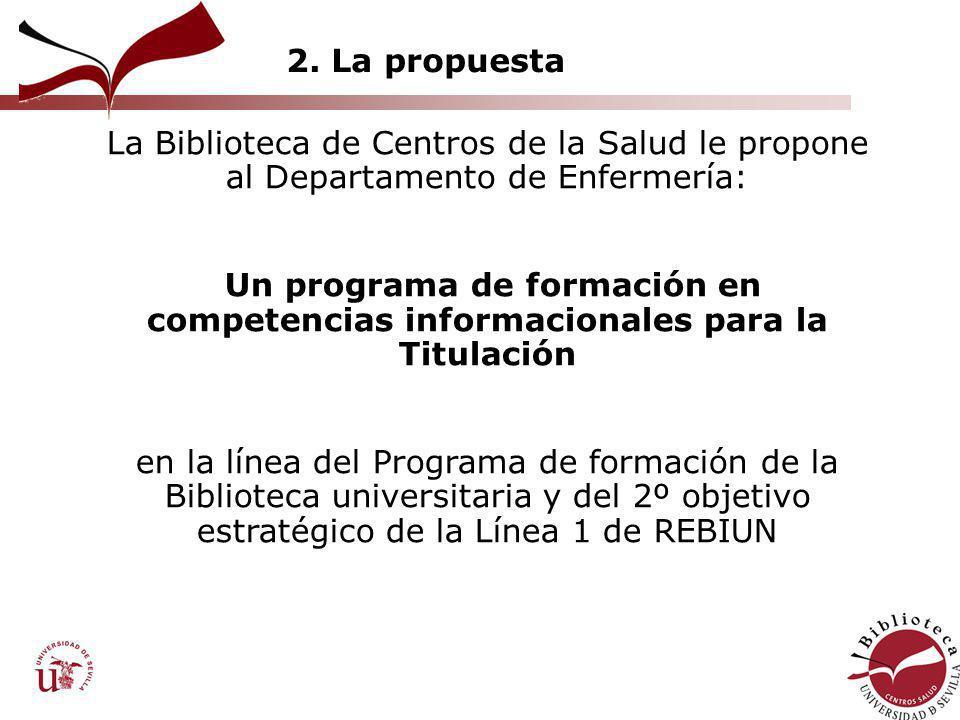 2. La propuesta La Biblioteca de Centros de la Salud le propone al Departamento de Enfermería: Un programa de formación en competencias informacionale
