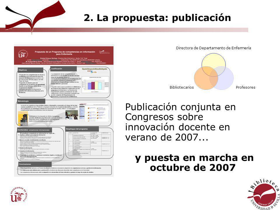 2. La propuesta: publicación Directora de Departamento de Enfermería Profesores Bibliotecarios Publicación conjunta en Congresos sobre innovación doce