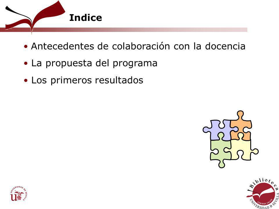 Indice Antecedentes de colaboración con la docencia La propuesta del programa Los primeros resultados