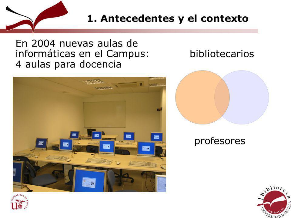 1. Antecedentes y el contexto bibliotecarios profesores En 2004 nuevas aulas de informáticas en el Campus: 4 aulas para docencia