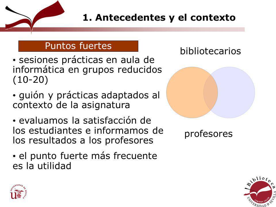 1. Antecedentes y el contexto bibliotecarios profesores sesiones prácticas en aula de informática en grupos reducidos (10-20) guión y prácticas adapta