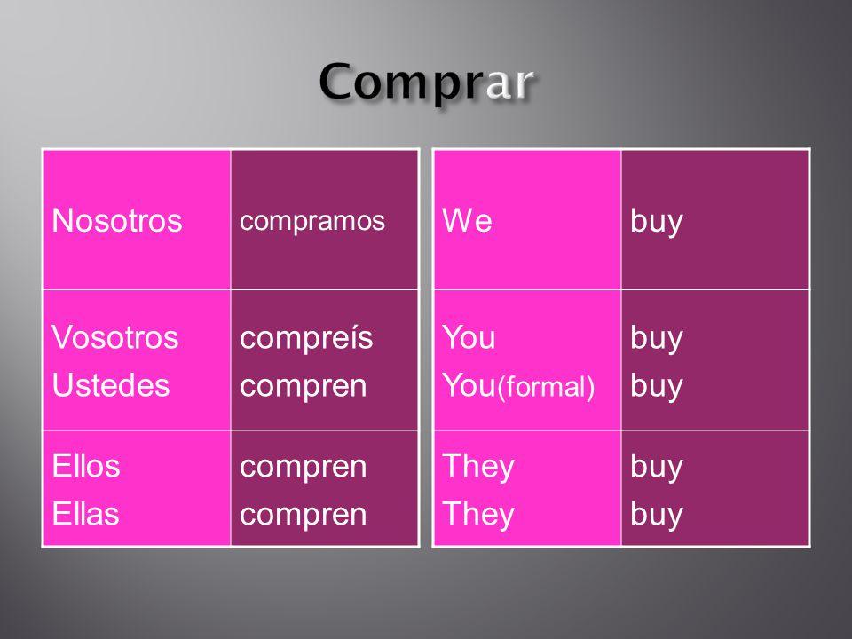 Nosotros compramos Vosotros Ustedes compreís compren Ellos Ellas compren Webuy You You (formal) buy They buy