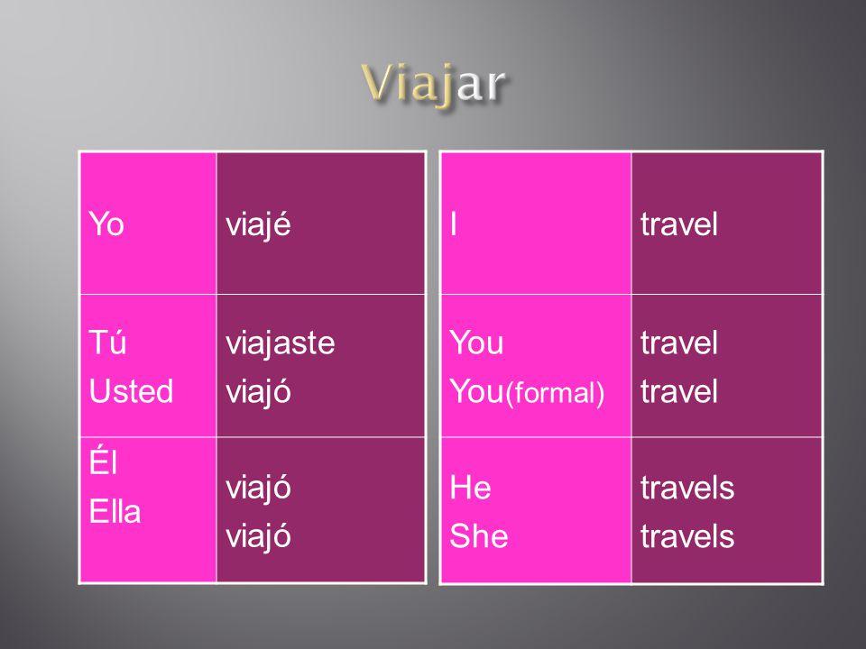 Nosotrosviajamos Vosotros Ustedes viajeís viajen Él Ella Viajen Wetravel You You (formal) travel He She travels