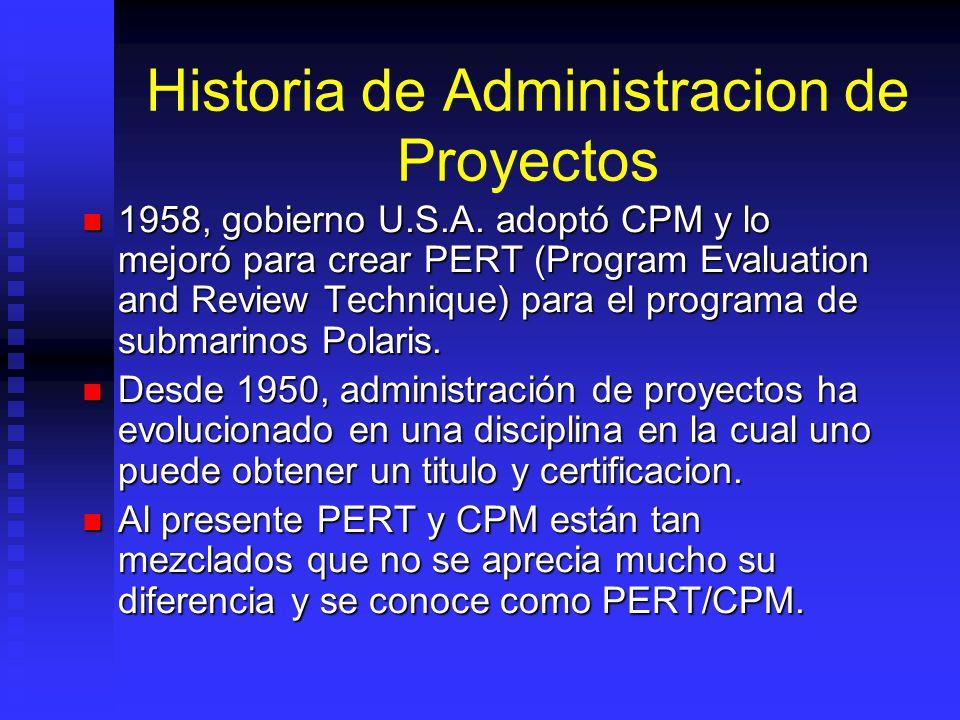 Historia de Administracion de Proyectos 1958, gobierno U.S.A.