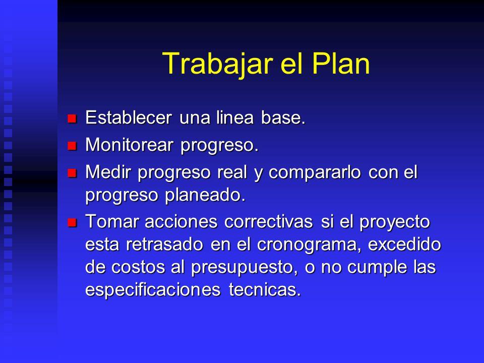 Trabajar el Plan Establecer una linea base.Establecer una linea base.