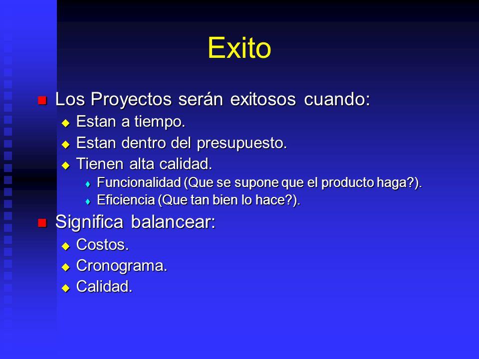 Exito Los Proyectos serán exitosos cuando: Los Proyectos serán exitosos cuando: Estan a tiempo.