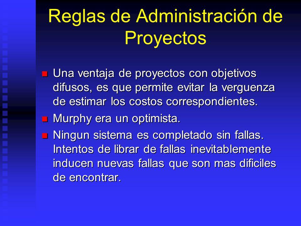 Reglas de Administración de Proyectos Una ventaja de proyectos con objetivos difusos, es que permite evitar la verguenza de estimar los costos correspondientes.