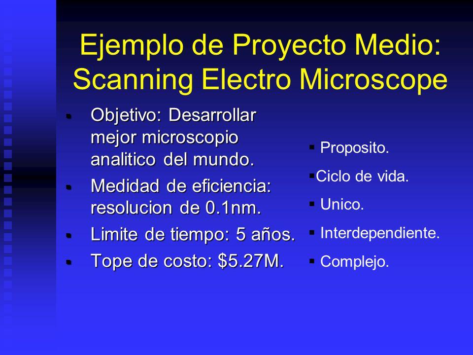 Ejemplo de Proyecto Medio: Scanning Electro Microscope Objetivo: Desarrollar mejor microscopio analitico del mundo.