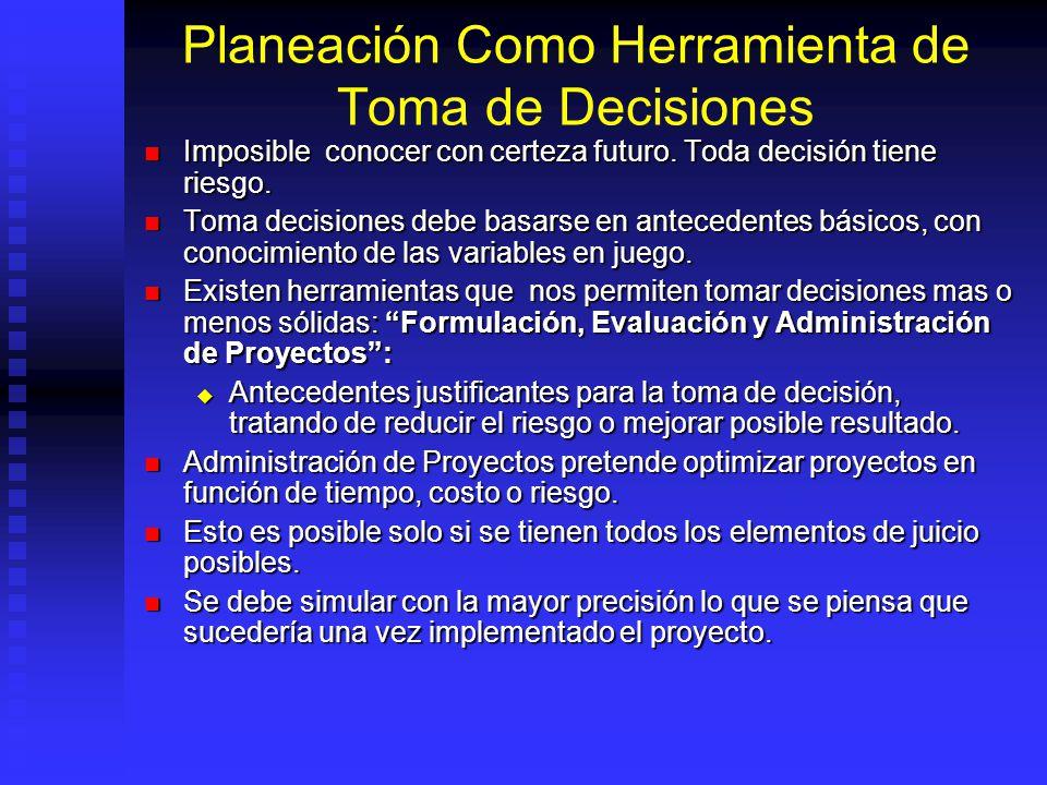 Planeación Como Herramienta de Toma de Decisiones Imposible conocer con certeza futuro.