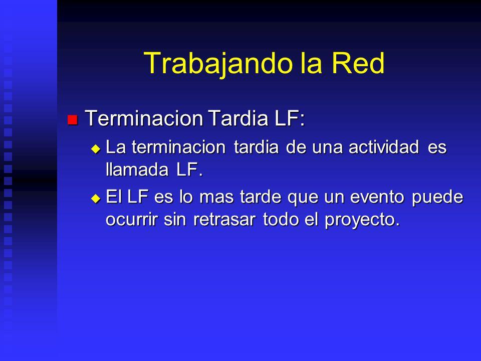Trabajando la Red Terminacion Tardia LF: Terminacion Tardia LF: La terminacion tardia de una actividad es llamada LF.