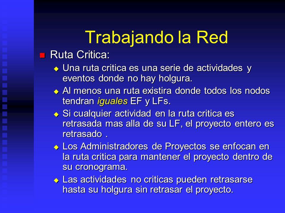 Trabajando la Red Ruta Critica: Ruta Critica: Una ruta critica es una serie de actividades y eventos donde no hay holgura.