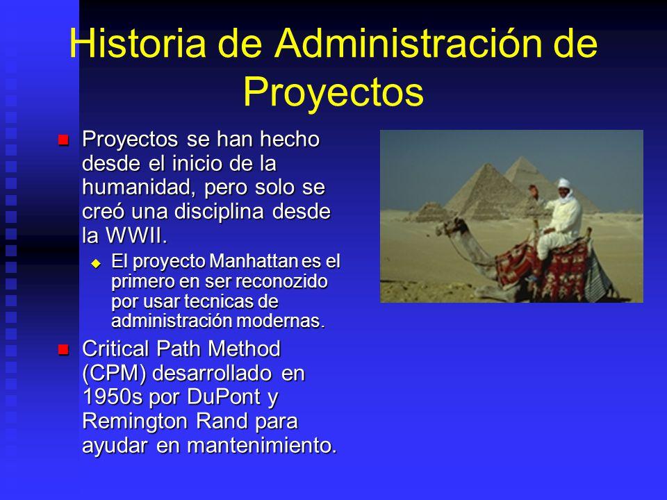 Historia de Administración de Proyectos Proyectos se han hecho desde el inicio de la humanidad, pero solo se creó una disciplina desde la WWII.