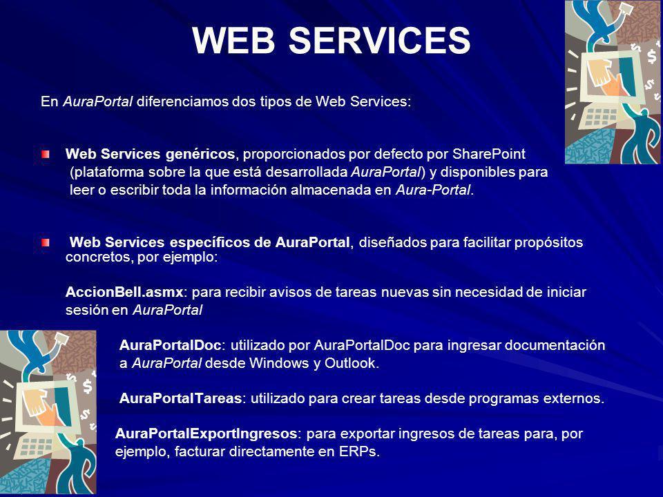 WEB SERVICES En AuraPortal diferenciamos dos tipos de Web Services: Web Services genéricos, proporcionados por defecto por SharePoint (plataforma sobr