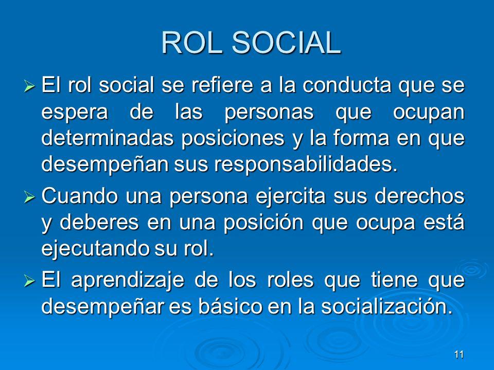 11 ROL SOCIAL El rol social se refiere a la conducta que se espera de las personas que ocupan determinadas posiciones y la forma en que desempeñan sus