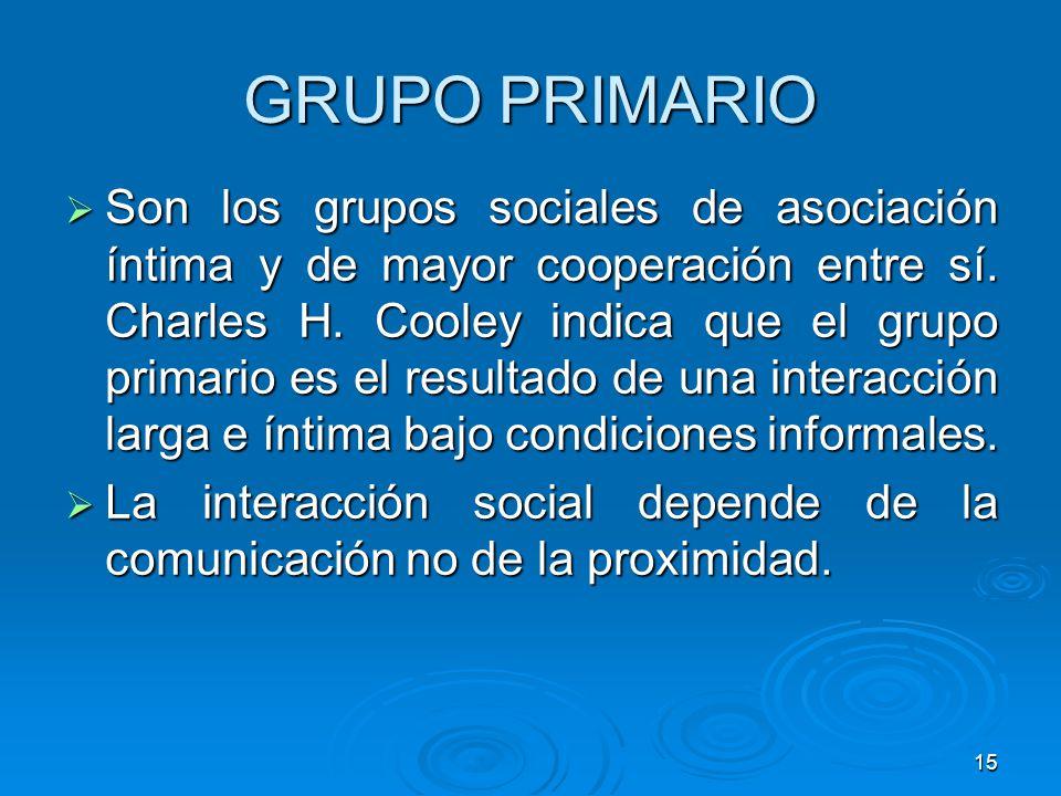 15 GRUPO PRIMARIO Son los grupos sociales de asociación íntima y de mayor cooperación entre sí. Charles H. Cooley indica que el grupo primario es el r