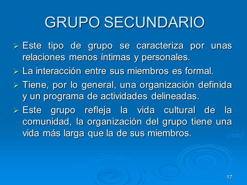 17 GRUPO SECUNDARIO Este tipo de grupo se caracteriza por unas relaciones menos íntimas y personales. Este tipo de grupo se caracteriza por unas relac