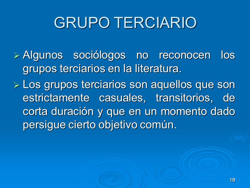 19 GRUPO TERCIARIO Algunos sociólogos no reconocen los grupos terciarios en la literatura. Algunos sociólogos no reconocen los grupos terciarios en la