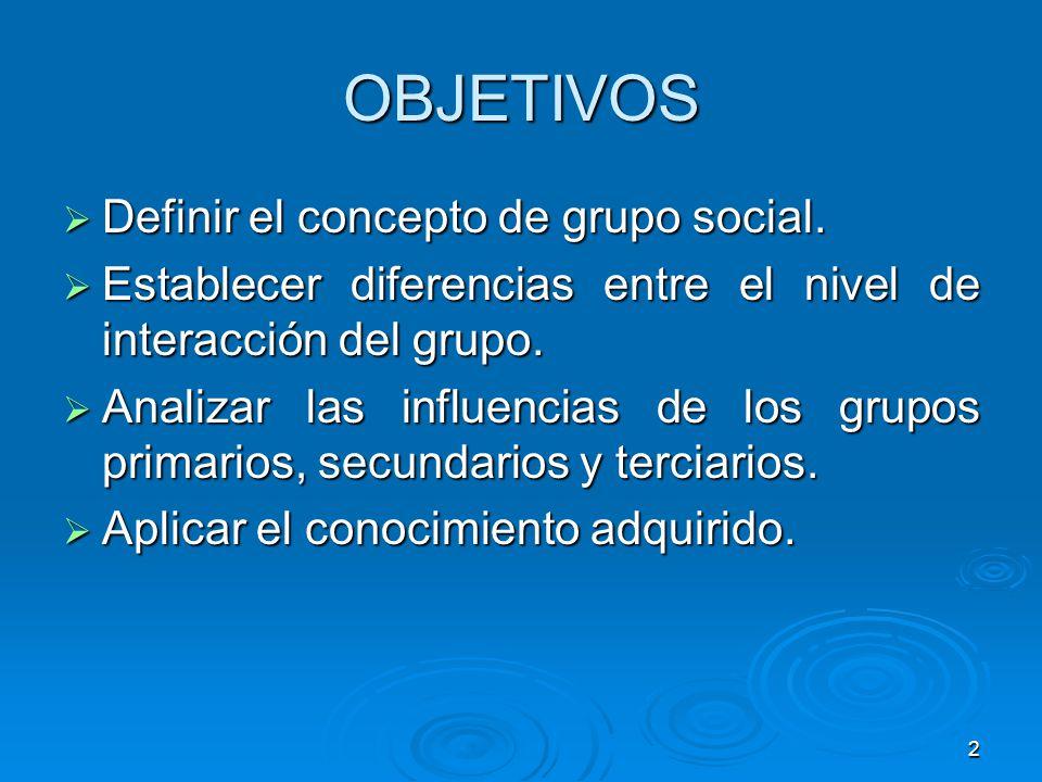 2 OBJETIVOS Definir el concepto de grupo social. Definir el concepto de grupo social. Establecer diferencias entre el nivel de interacción del grupo.