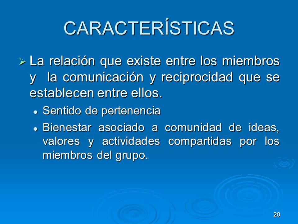 20 CARACTERÍSTICAS La relación que existe entre los miembros y la comunicación y reciprocidad que se establecen entre ellos. La relación que existe en