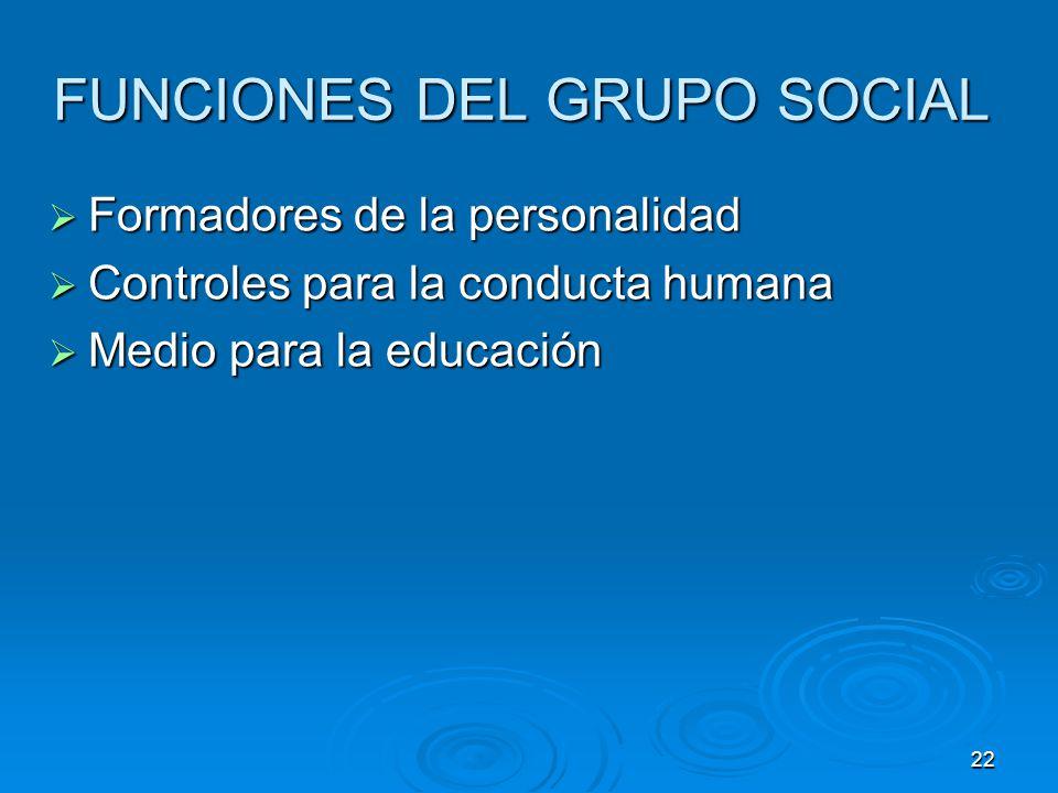 22 FUNCIONES DEL GRUPO SOCIAL Formadores de la personalidad Formadores de la personalidad Controles para la conducta humana Controles para la conducta