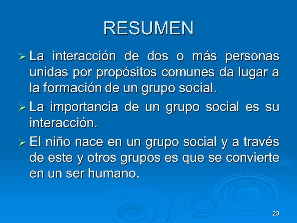 23 RESUMEN La interacción de dos o más personas unidas por propósitos comunes da lugar a la formación de un grupo social. La interacción de dos o más