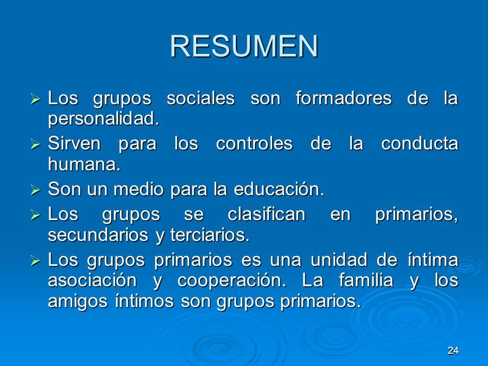 24 RESUMEN Los grupos sociales son formadores de la personalidad. Los grupos sociales son formadores de la personalidad. Sirven para los controles de
