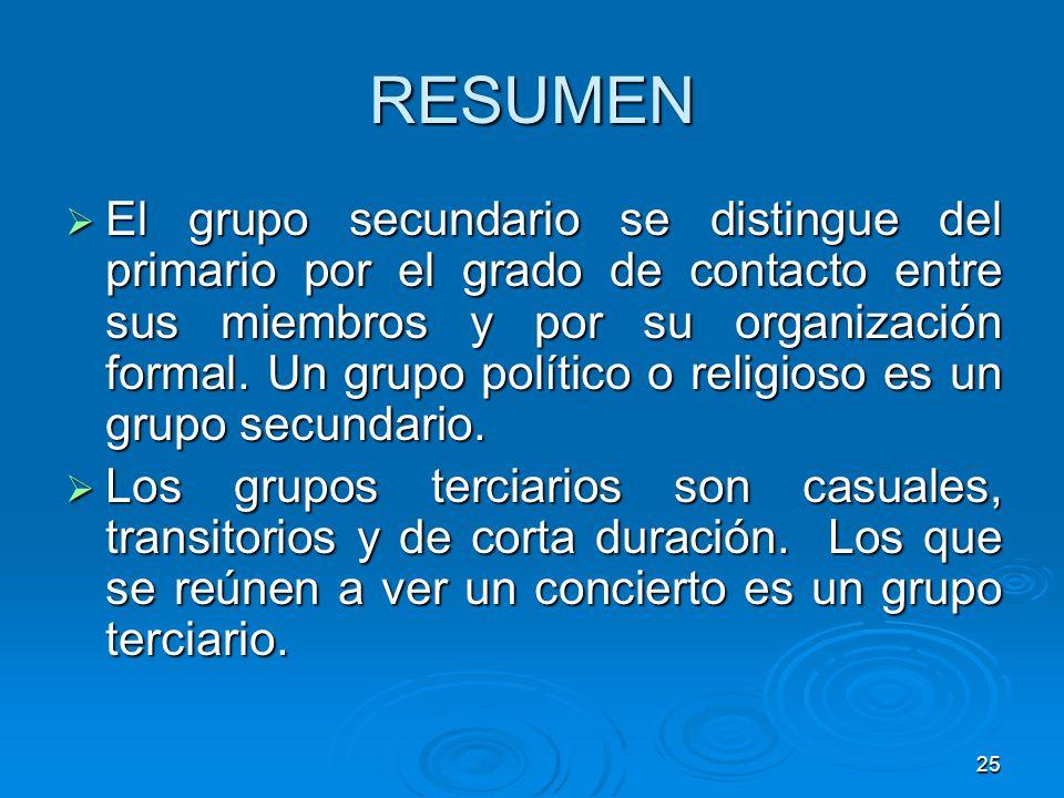 25 RESUMEN El grupo secundario se distingue del primario por el grado de contacto entre sus miembros y por su organización formal. Un grupo político o