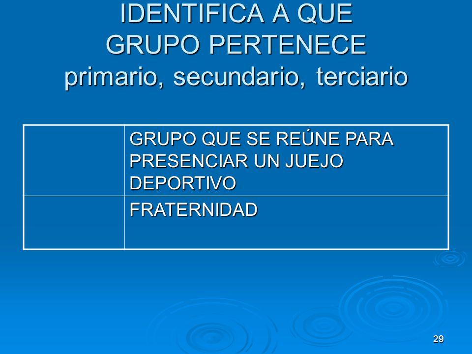 29 IDENTIFICA A QUE GRUPO PERTENECE primario, secundario, terciario GRUPO QUE SE REÚNE PARA PRESENCIAR UN JUEJO DEPORTIVO FRATERNIDAD