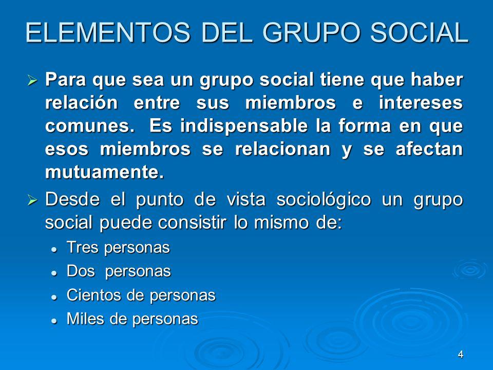 4 ELEMENTOS DEL GRUPO SOCIAL Para que sea un grupo social tiene que haber relación entre sus miembros e intereses comunes. Es indispensable la forma e