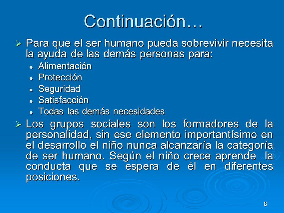 8 Continuación… Para que el ser humano pueda sobrevivir necesita la ayuda de las demás personas para: Para que el ser humano pueda sobrevivir necesita