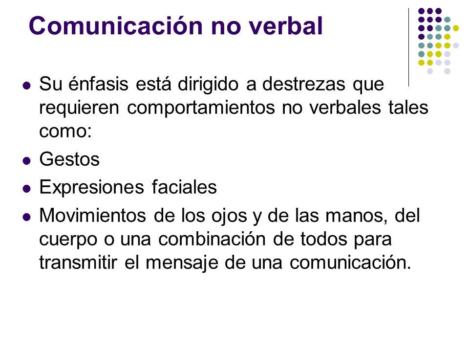 Comunicación no verbal Su énfasis está dirigido a destrezas que requieren comportamientos no verbales tales como: Gestos Expresiones faciales Movimientos de los ojos y de las manos, del cuerpo o una combinación de todos para transmitir el mensaje de una comunicación.