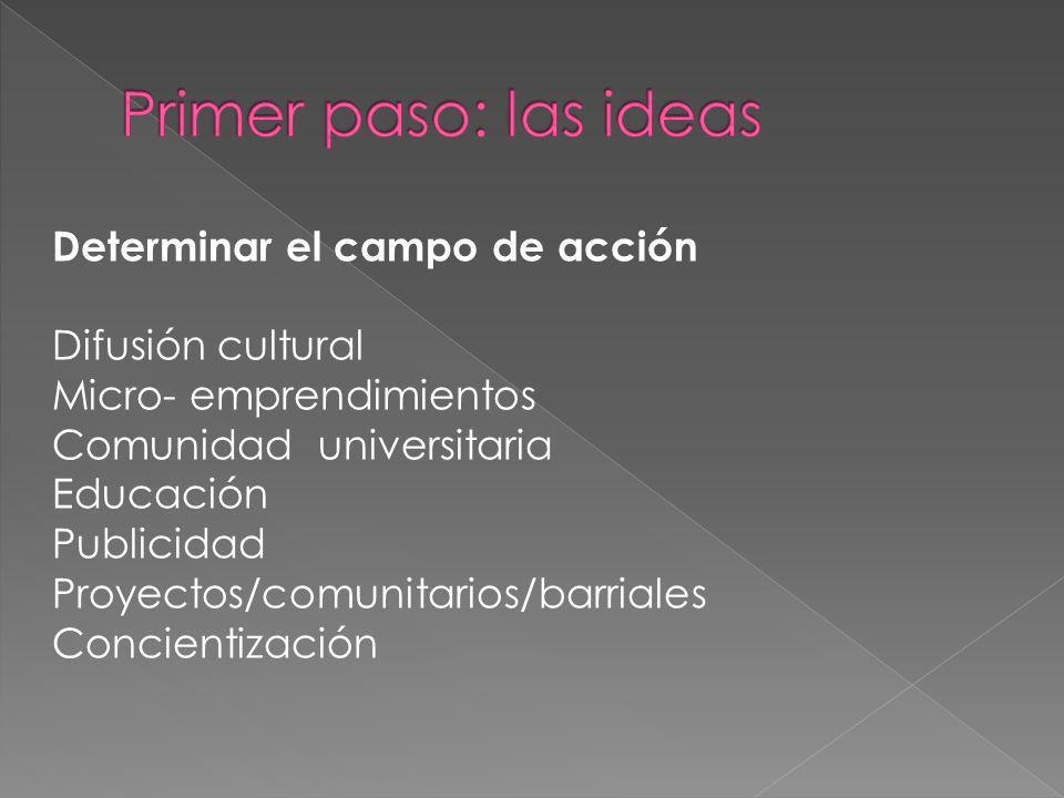 Determinar el campo de acción Difusión cultural Micro- emprendimientos Comunidad universitaria Educación Publicidad Proyectos/comunitarios/barriales C