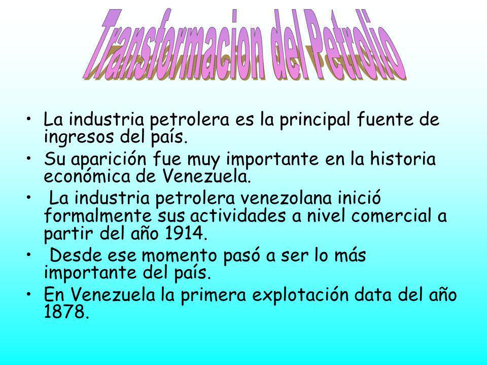 La industria petrolera es la principal fuente de ingresos del país. Su aparición fue muy importante en la historia económica de Venezuela. La industri