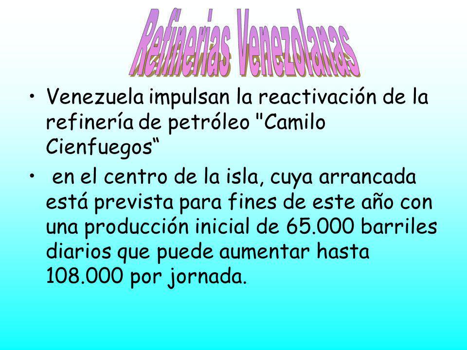 Venezuela impulsan la reactivación de la refinería de petróleo