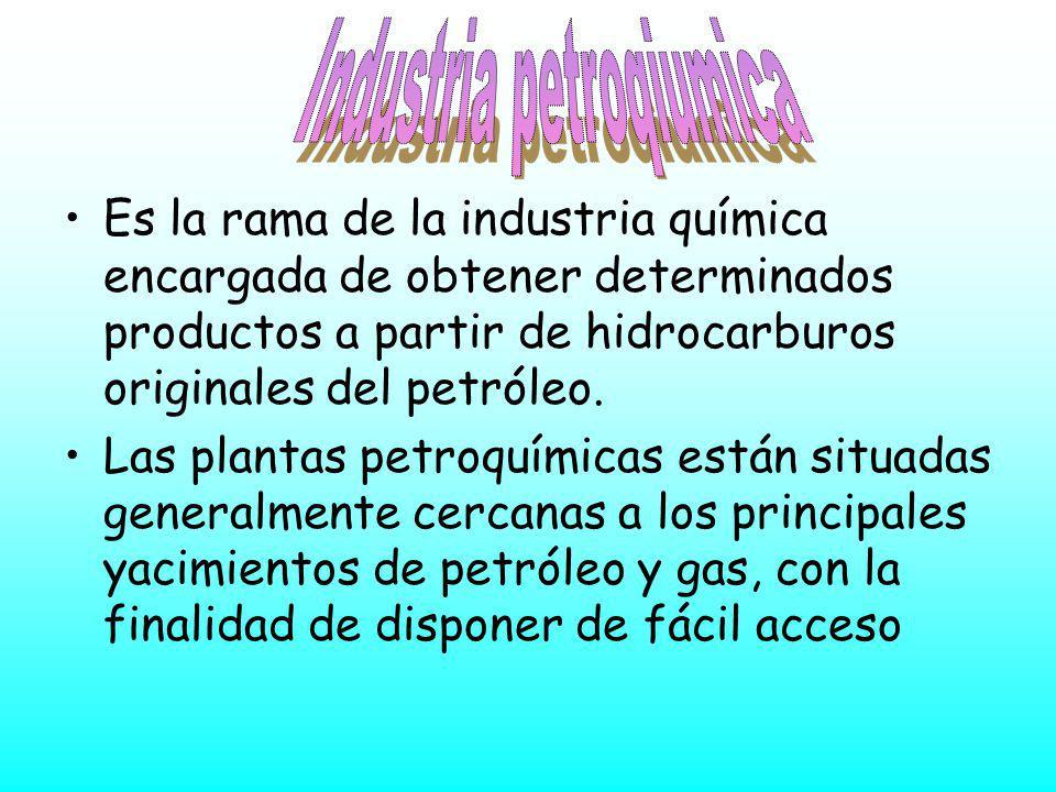 Es la rama de la industria química encargada de obtener determinados productos a partir de hidrocarburos originales del petróleo. Las plantas petroquí
