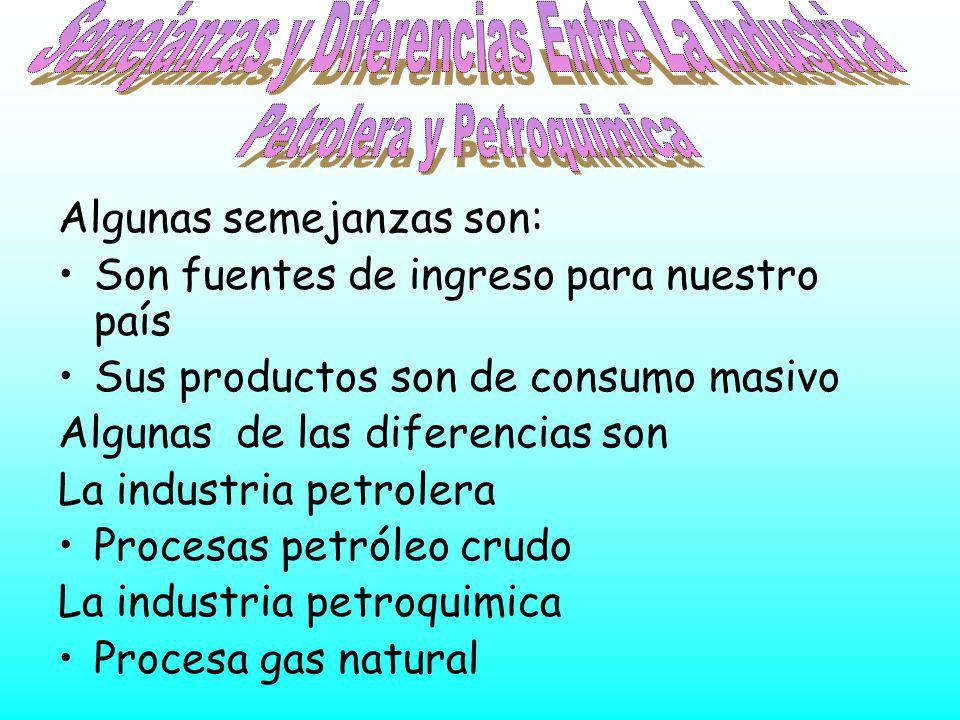 Algunas semejanzas son: Son fuentes de ingreso para nuestro país Sus productos son de consumo masivo Algunas de las diferencias son La industria petro
