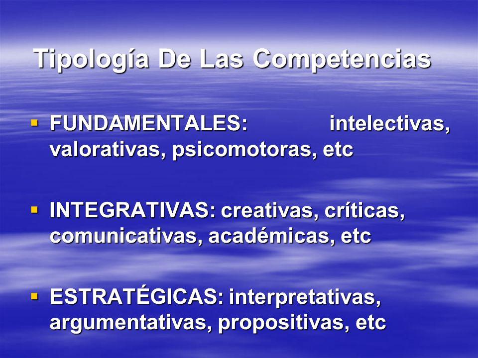 Tipología De Las Competencias FUNDAMENTALES: intelectivas, valorativas, psicomotoras, etc FUNDAMENTALES: intelectivas, valorativas, psicomotoras, etc