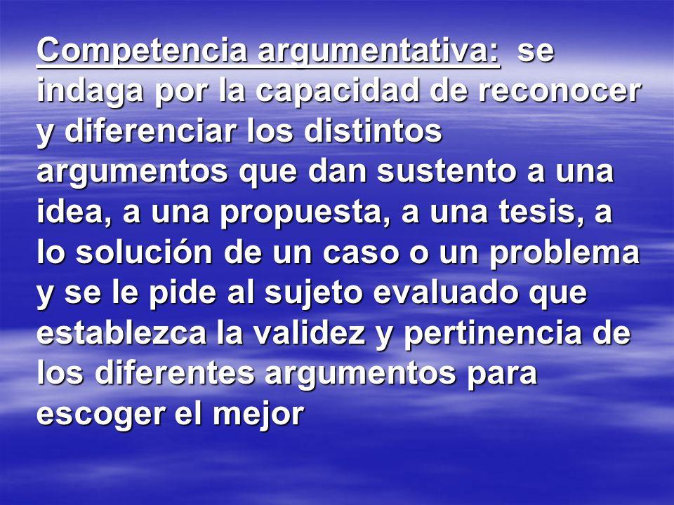 Competencia argumentativa: se indaga por la capacidad de reconocer y diferenciar los distintos argumentos que dan sustento a una idea, a una propuesta