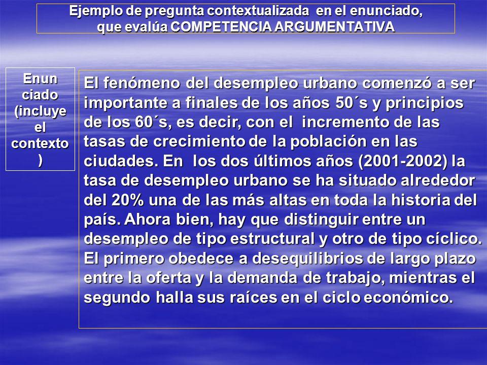 Ejemplo de pregunta contextualizada en el enunciado, que evalúa COMPETENCIA ARGUMENTATIVA El fenómeno del desempleo urbano comenzó a ser importante a
